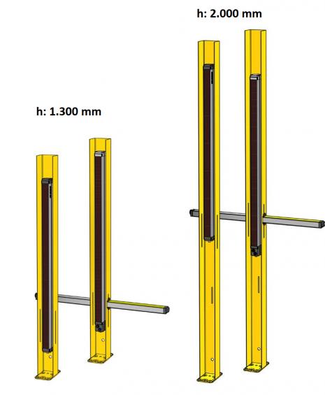 Poste para la protección de golpes para barreras y cortinas fotoeléctricas.